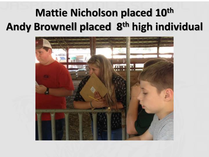 Mattie Nicholson placed 10