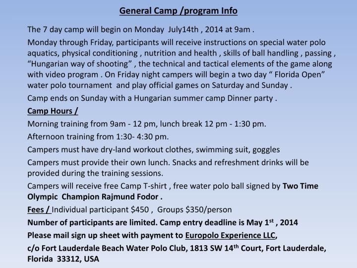 General Camp /program Info
