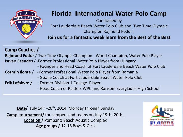 Florida  International Water Polo Camp