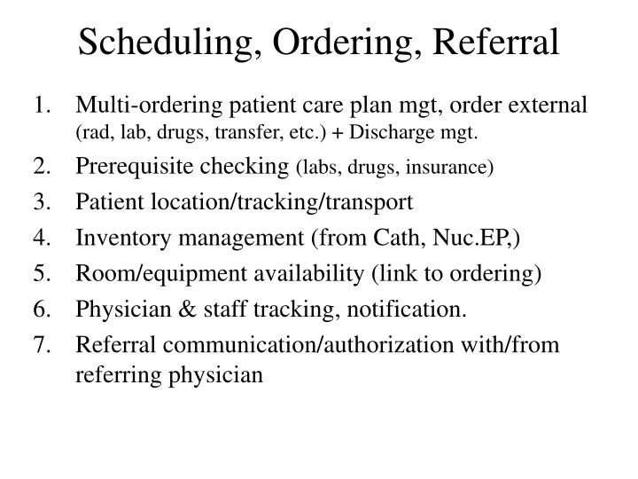 Scheduling, Ordering, Referral