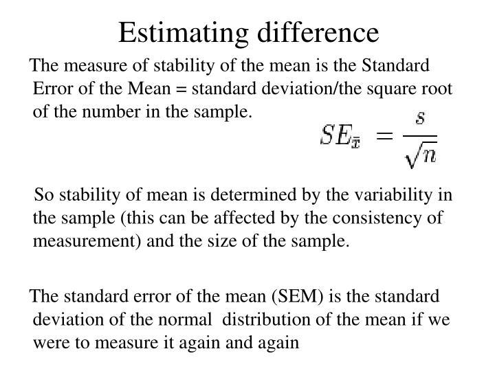 Estimating difference