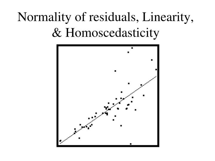 Normality of residuals, Linearity, & Homoscedasticity