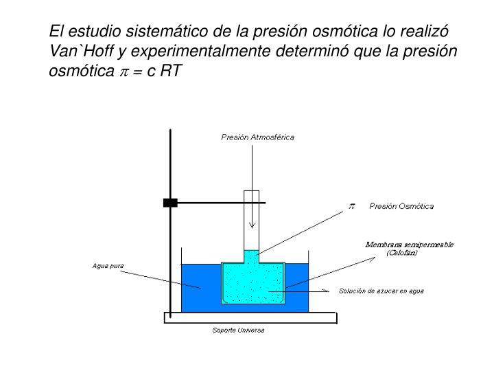 El estudio sistemtico de la presin osmtica lo realiz Van`Hoff y experimentalmente determin que la presin osmtica