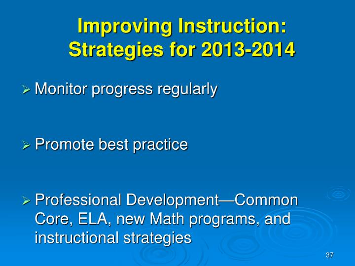 Improving Instruction: