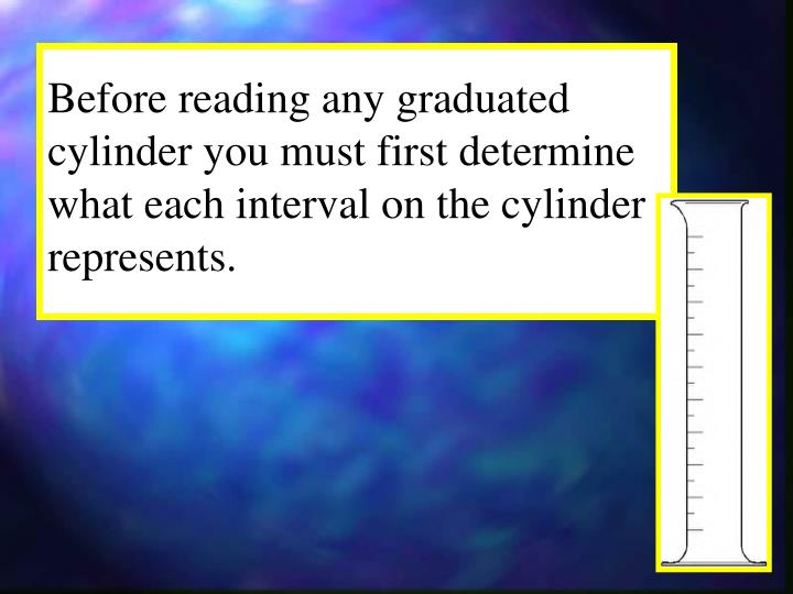 Before reading any graduated cylinder you must first determine what each interval on the cylinder represents.