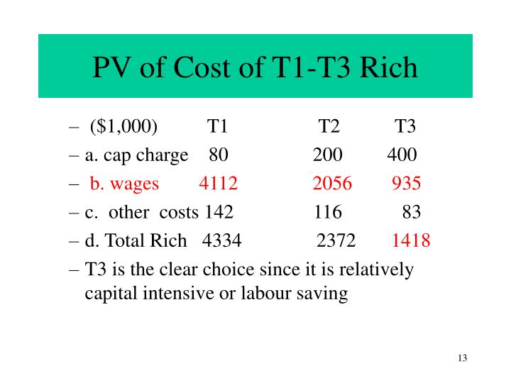 PV of Cost of T1-T3 Rich