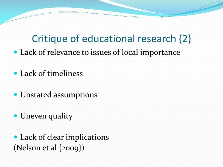 Critique of educational research (2)