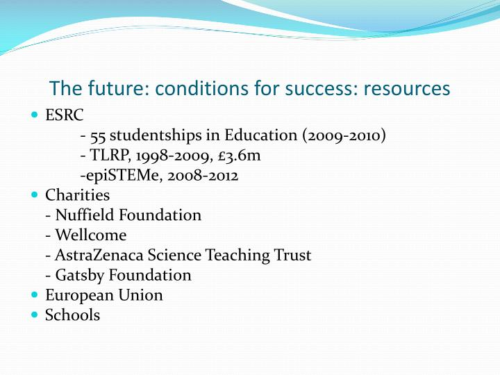 The future: conditions for success: resources