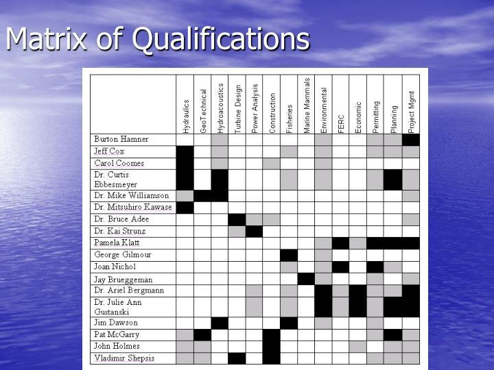 Matrix of Qualifications