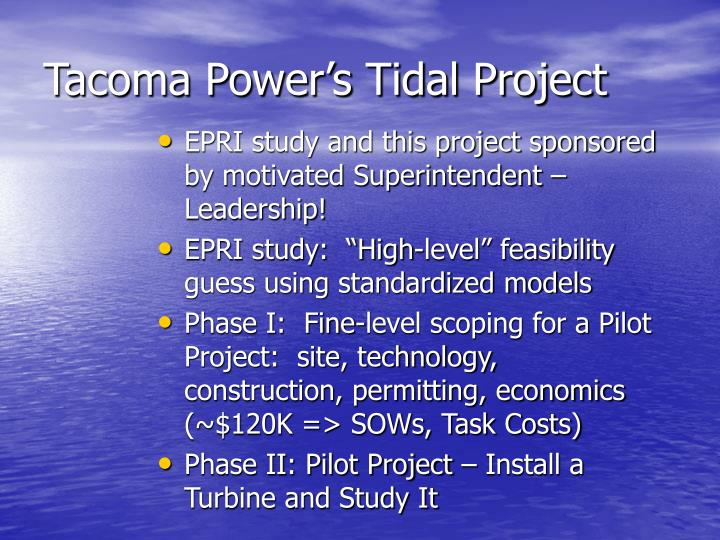 Tacoma Power's Tidal Project
