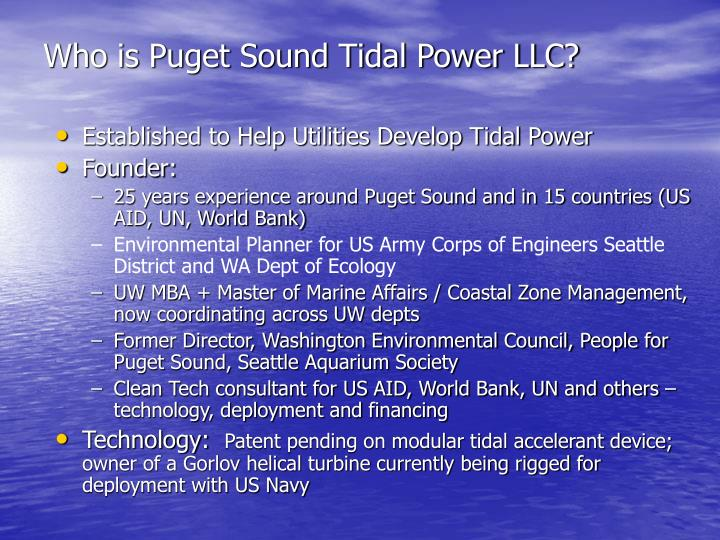 Who is Puget Sound Tidal Power LLC?