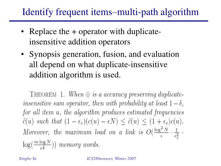 Identify frequent items–multi-path algorithm