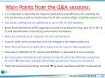 main points from the q a sessions