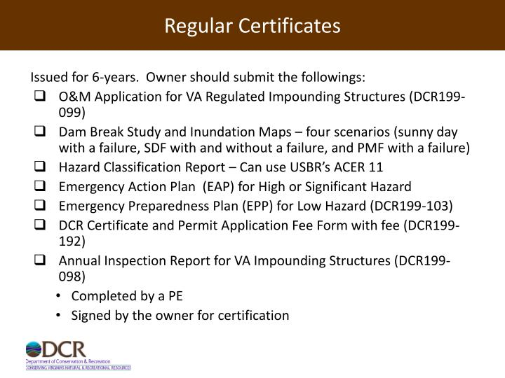 Regular Certificates