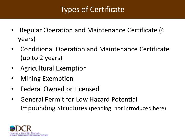 Types of Certificate