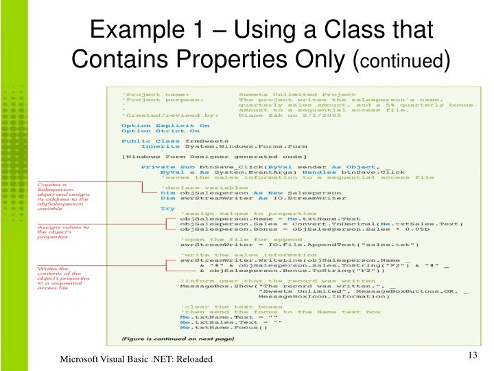 Example 1 – Using a Class that Contains Properties Only