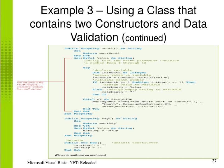 Example 3 – Using a Class that contains two Constructors and Data Validation (