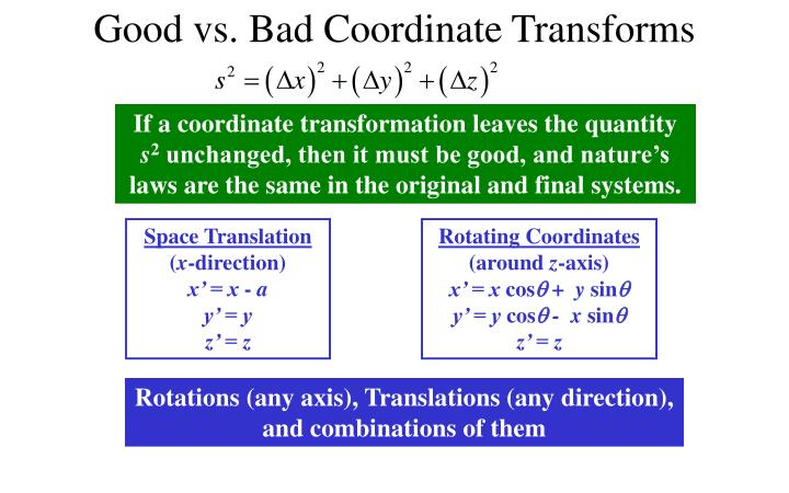 Good vs. Bad Coordinate Transforms