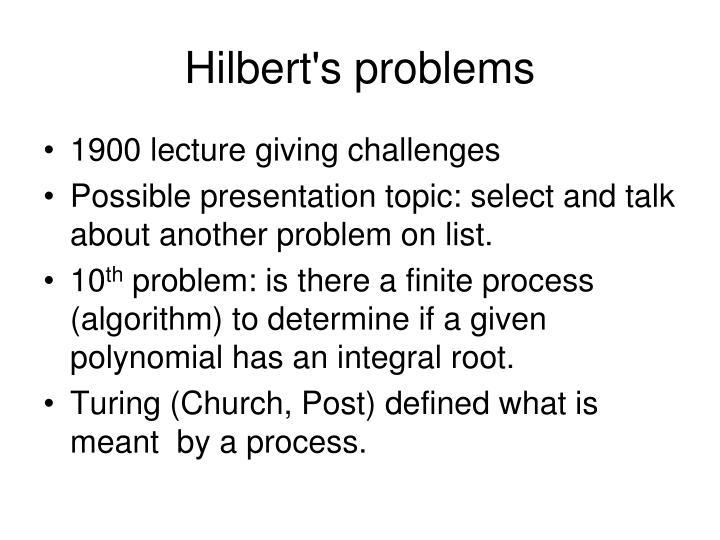 Hilbert's problems