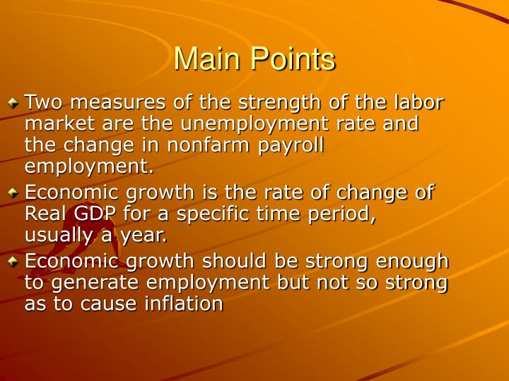 Two measures of the strength of the labor market are the unemployment rate and the change in nonfarm payroll employment.