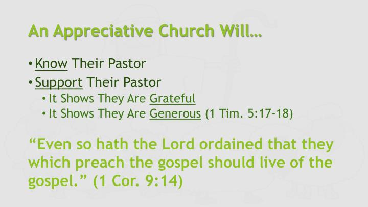 An Appreciative Church Will…