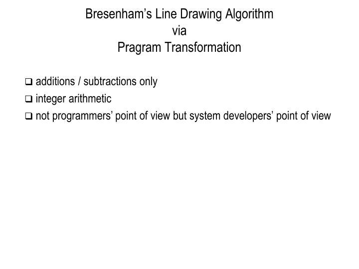 Bresenham's Line Drawing Algorithm