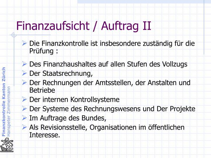Finanzaufsicht / Auftrag II