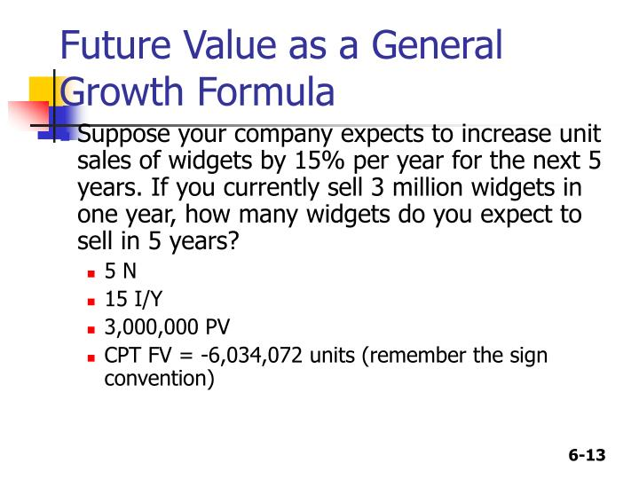 Future Value as a General Growth Formula