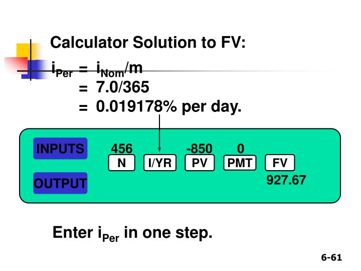 Calculator Solution to FV: