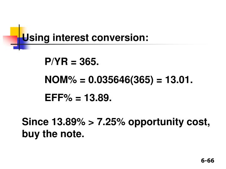Using interest conversion: