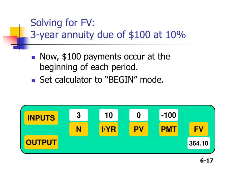 Solving for FV: