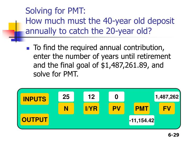 Solving for PMT: