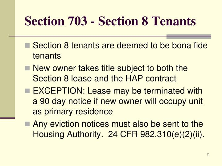 Section 703 - Section 8 Tenants