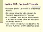 section 703 section 8 tenants