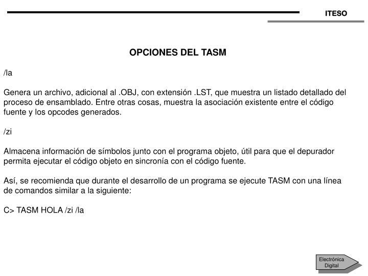 OPCIONES DEL TASM