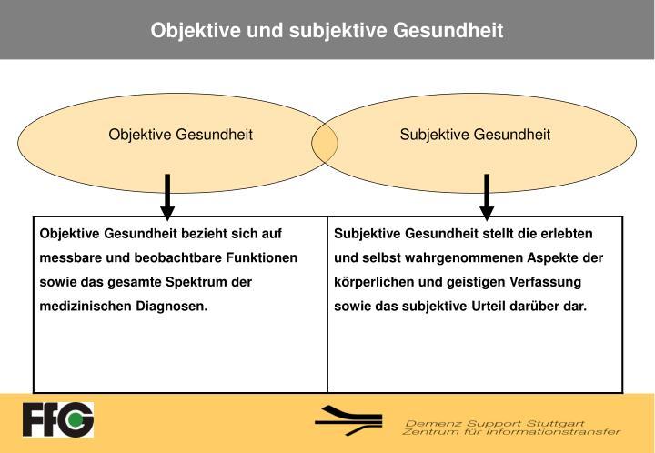 Objektive und subjektive Gesundheit