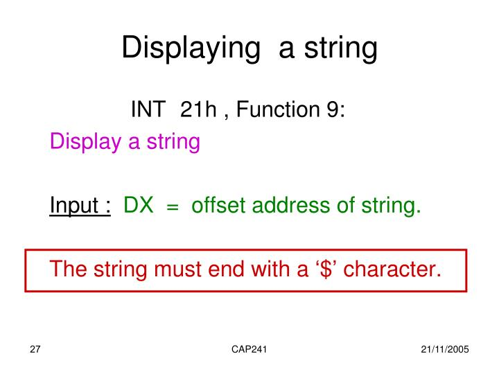 Displaying  a string