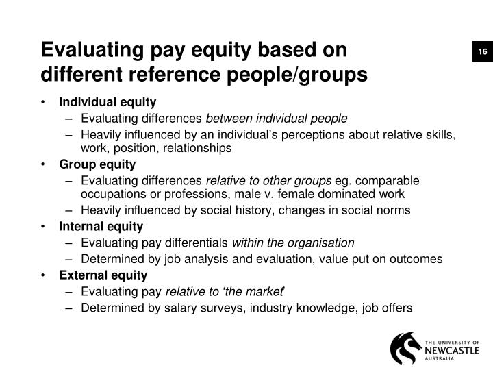 Evaluating pay equity based on
