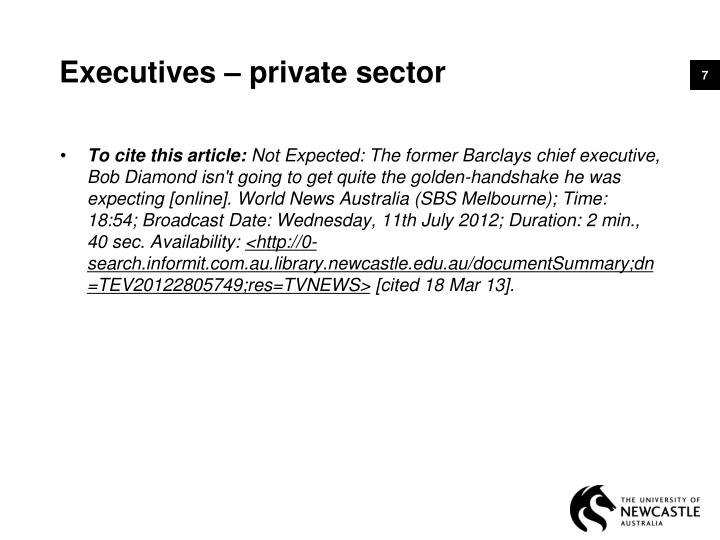 Executives – private sector