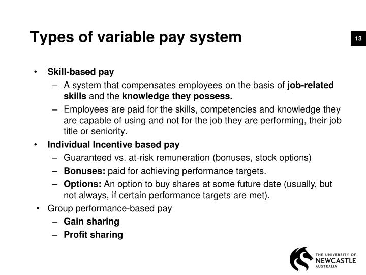 Types of variable pay system