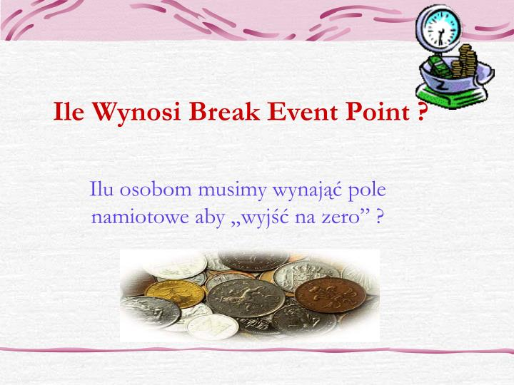 Ile Wynosi Break Event Point ?