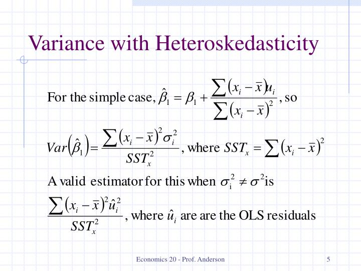 Variance with Heteroskedasticity