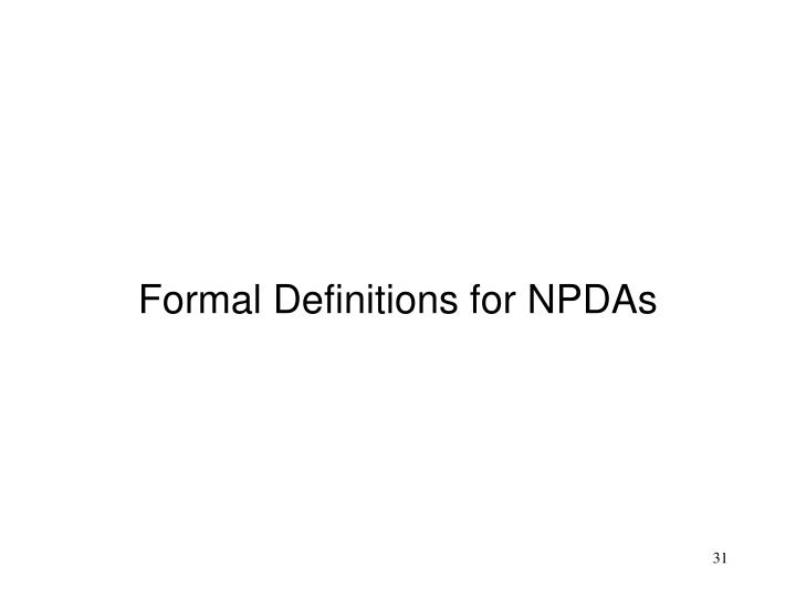 Formal Definitions for NPDAs