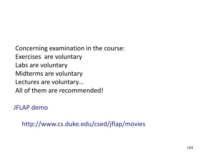 Concerning examination in the course: