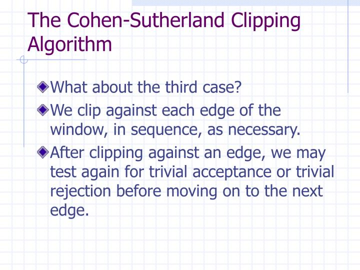 The Cohen-Sutherland Clipping Algorithm