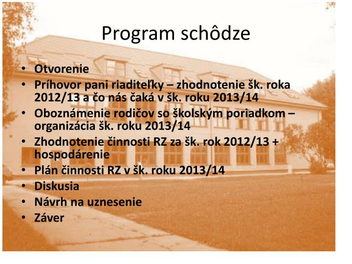 Program schôdze