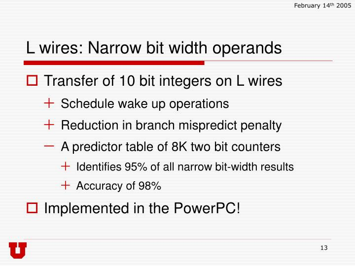 L wires: Narrow bit width operands