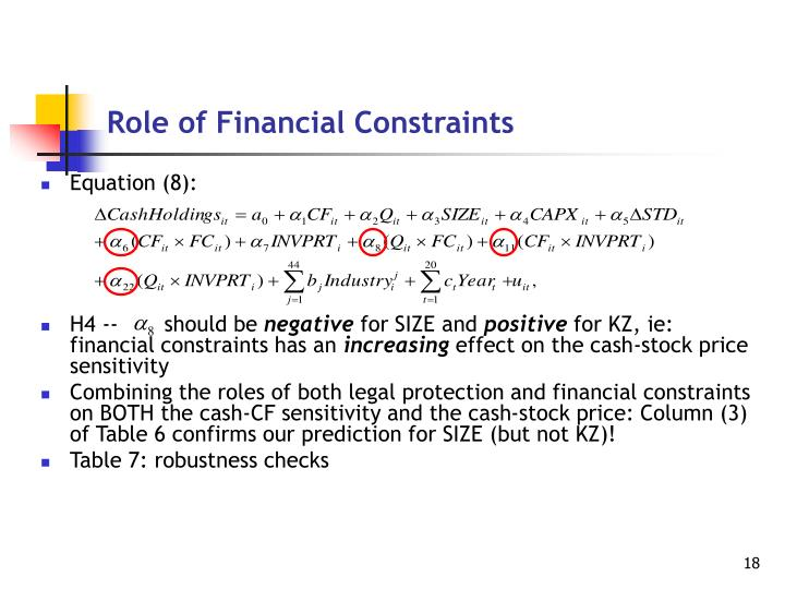 Role of Financial Constraints