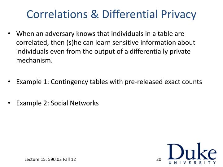 Correlations & Differential Privacy