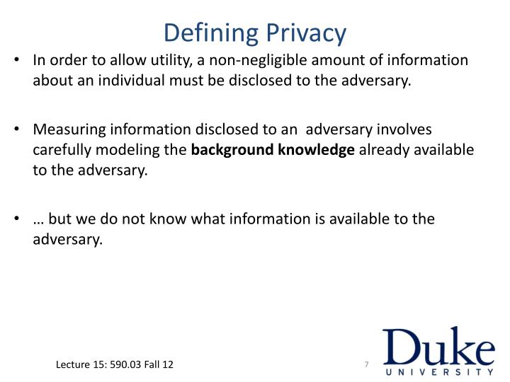 Defining Privacy